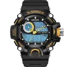 UK Mens Yellow  Dual Display shock proof Digital LED Sports Divers Watch
