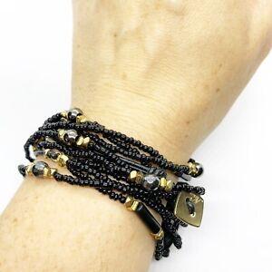 Nakamol Black Glass Stone? Beaded Leather Wide Wrap Bracelet or Necklace