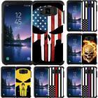 For Galaxy S8 / S8+ / S8 Active (G892A) Slim Hybrid Armor Case USA Flag Skull