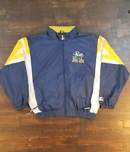 Vintage 90s Starter Notre Dame Double Sided Logo Blockhead Windbreaker Size XL