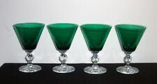 4 Vintage Green & Clear Cocktail Bar Glasses w/footed Cut Knob 8 oz 6 1/2