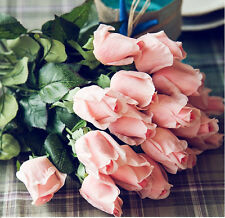10PCS Pink Real Touch Latex Rose Bud Flowers For Home Decor Wedding Bouquet
