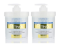 Advanced Clinicals Retinol Cream. Value Set- Two spa size 16oz bottles with p...