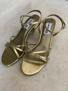 Women's Private Collection DYEABLES Gold Strappy Evening Sandals Size: 6B