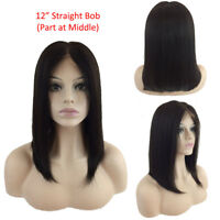 Ombre 99J Remy Human Hair Wig Glueless Lace Front Full Wigs Straight Short BOB b