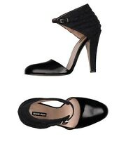 GIORGIO ARMANI  Black Leather Gray Fabric Ankle Strap Heels Pumps Size 39 $850