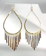 """CHIC Lightweight Artisanal 4"""" Gold Teardrop Fringe Dangle Earrings"""