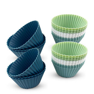 Silicone Muffin Cases Large Cupcake Moulds Baking Cups Reusable Non-Stick UK