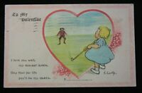 Antique Valentines Day Postcard Golf  Curtis