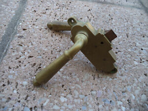Rare Art Deco Brass Sliding Door Lock with pullers