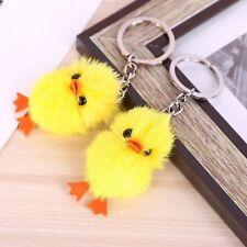 Cute Mink Fur Yellow Duck Quacks Keychain Animal Key Ring Accessory Hot Sell