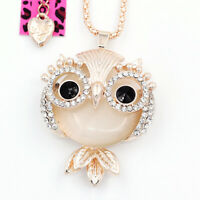 Women's Crystal Opal Cute Owl Pendant Long Chain Betsey Johnson Necklace Gift