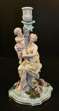 Victorian Dresden Sitzendorfer Hand Painted Mother and Child Figural Candlestick