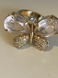 Swarovski Crystal Signed Ring Gold Tone Butterfly  Size 6.5 Missing 1 Rh