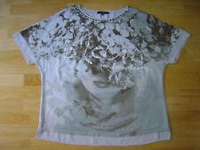 Bonita Damen T-Shirt Hellgrau / Hellkhaki mit Chiffon Elementen sehr schön Gr.44