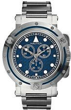 Nautica Men's Chronograph Watch Stainless Steel Blue Dial A35009 Swiss Movement