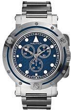 Reloj Cronógrafo Nautica Para hombres Acero Inoxidable Esfera Azul A35009 Movimiento Suizo