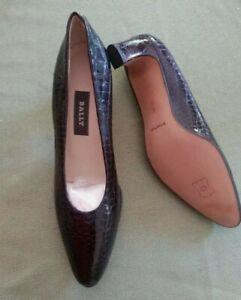 Ballypumps Napa FlexleatherDark brownCroc Embossed Patent Heels Size 8M