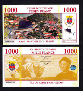 ★★★ ILE DE SAINT BARTHELEMY : BILLET TEST POLYMER 1000 FRANCS ★★
