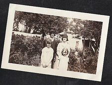 Antique Photograph Women in Flapper Hats & Young Girls  in Yard - Laundry Day
