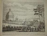 RARE Gravure ENTREE des FRANCAIS à ROME ROMA NAPOLEON ITALIE 1800 ITALIA EMPIRE