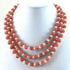 """3 Strands Carnelian & Freshwater Pearl with Sterling Silver Clasp 17.5-18.5"""""""