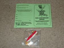 Boy Scout Order of the Arrow 75th Anniversary 1990 Turtle Uniform Award Medal