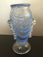 Fine Vintage SIGNED Studio Art Glass Pulled Blue Feather Vase CATANIA Lovely NR