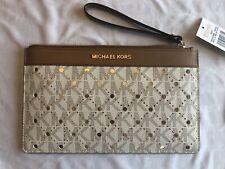 8c703657ec0b NWT Michael Kors Violet Jet Set Travel Large Perforated Clutch Vanilla/Pale  Gold
