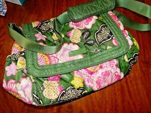 Vera Bradley Olivia Olive Green Pink Shoulder Bag Travel Diaper Bag Messenger