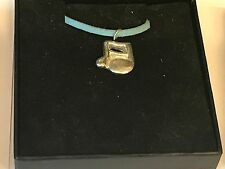 """Music Note TG31A English Pewter On 18"""" Blue Cord Necklace"""