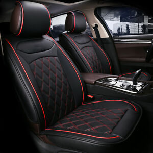 For Mini Cooper Front Seat Covers Black With Red PU Leather