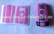CARBON Rosa Pink Schlüssel Folie BMW Key 1 3 5 X5 X6 X E60 E70 E90 E91 E92 E93 M