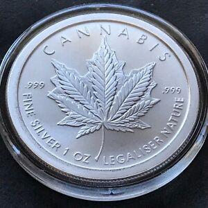 2021 Silver Shield Cannabis 1 oz .999 Beautiful Marijuana Pot Capsule