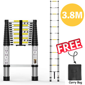 3.8m Telescopic Extension Ladder Retractable With Safe Lock Free Carry Bag