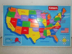 Vintage 1986 PLAYSKOOL Wood Inlaid Map Puzzle United States 100% COMPLETE