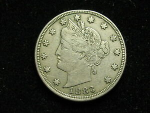 COLLECTIBLES SALE!! AU  1883 LIBERTY V NICKEL IN COLLECTIBLE CONDITION 5B