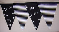 Black & White MINI musical Notes Fabric Bunting Party Bedroom Decoration 3mtr