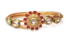 Indian Bollywood Gold Plated Kundan Ruby Openable Bracelet Size 2.6 Jewelry1