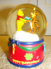 "Winnie The Pooh Musical Water Globe Plays  ""We Wish You A Merry Christmas"""