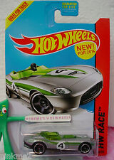 Case F 2014 Hot Wheels RRROADSTER #155 US New Model☆Silver;Green;4☆Thrill Racers