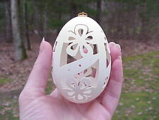 Real Hand Carved Goose Egg Collectible Easter Tree Ornament Gift Decoration .