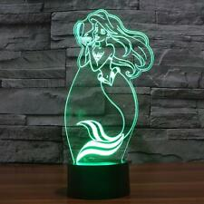 Mermaid 3D Night Light 7 Color Touch Switch Change LED Illusion Desk Lamp Gift