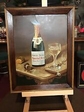 "1800's Gold Seal Champagne Tin Lithograph Advertising Sign ""Watch Video"""