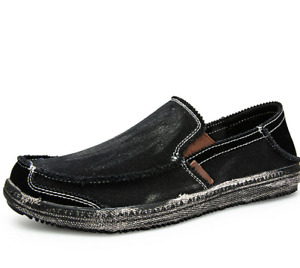 Mens Canvas Pumps Slip on Loafers Shoes Driving Moccasins Breathable Flats US9