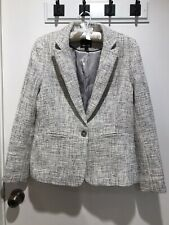 MARCS BNWOT Bone, Black, Grey, Silver Fleck One Button Blazer Jacket Size 14