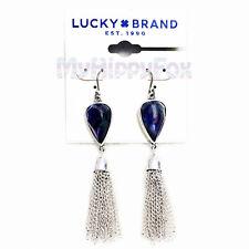 Lucky Brand Silver Tone Multi Color Stone Tassel Fringe Drop Earrings