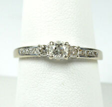 14K WHITE GOLD DIAMOND SOLITAIRE ENGAGMENT RING w/ ACCENTS 0.63 CARAT TOTAL WT