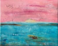 Boat Painting Seascape Original Art Impasto Canvas Abstract Artwork 20 by 16 in