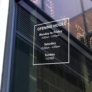 OPENING HOURS - Business Shop Owner Open Closed Window Door Vinyl Sticker Decal